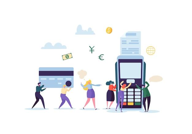 Оплата кредитной картой с помощью терминала с плоскими людьми
