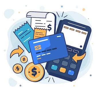 방문 페이지에 대한 신용 카드 결제 개념 무료 벡터