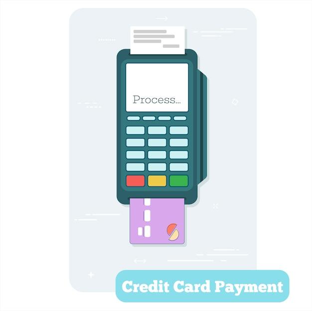 라인 아트 스타일의 신용 카드 결제 개념
