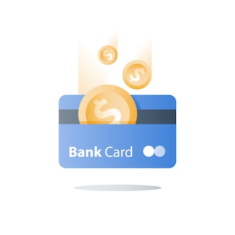 Credit card, payment method, bank services, easy loan, cash back program, saving money, financial solution, bank card, dollar coin