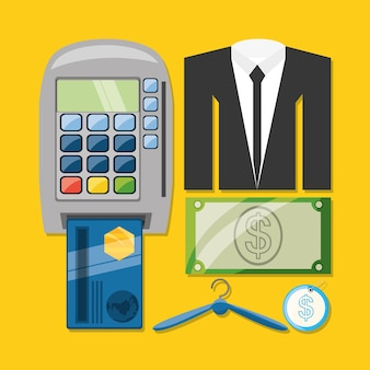 Credit card payment suit and cash shopping concept
