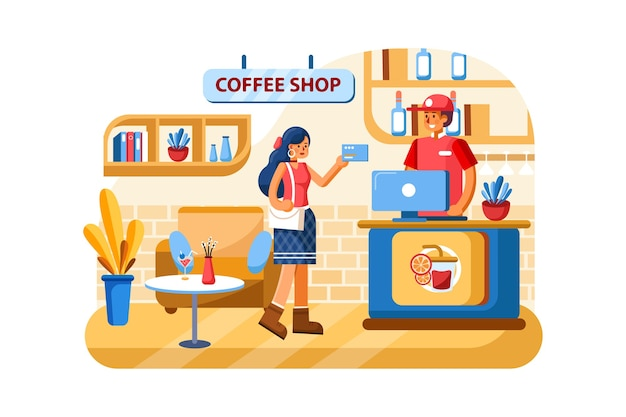 Credit card payment system in coffee shop Premium Vector