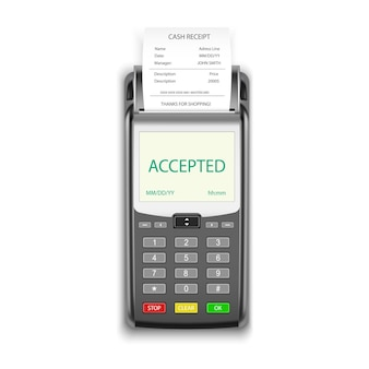 신용 카드 결제 단말기, pos 기계, 사실적인 3d. 신용 카드 머니 결제 및 구매 영수증 페이 슬립 청구서 거래 용 pos 단말기, 모바일 nfc 결제 결제 단말기