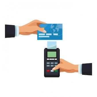 카드 리더기로 신용 카드 결제