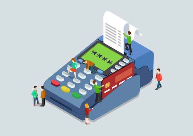 Концепция терминала оплаты пин-кода кредитной карты плоская 3d веб