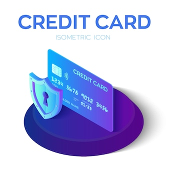 Credit card. protection credit card. 3d isometric.
