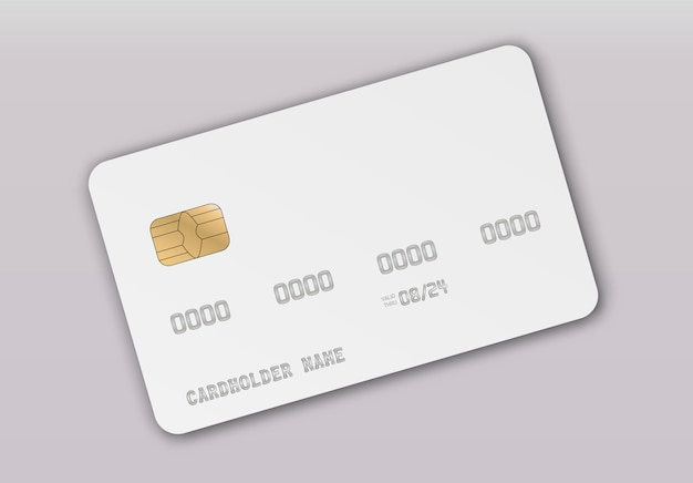 Credit card realistic mockup. clear plastic card template