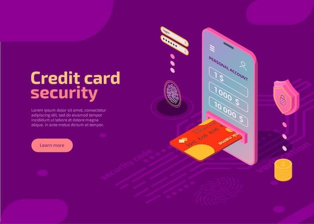 Изометрическая иллюстрация безопасности кредитной карты защищает идентификационную информацию на экране смартфона