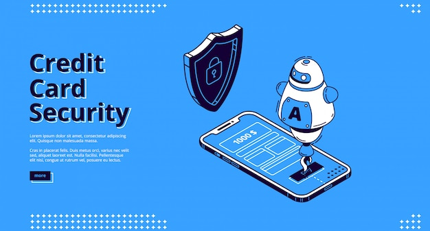 Кредитная карта безопасности веб-телефон и робот