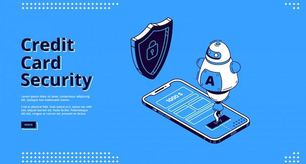 Telefono e robot di sicurezza della carta di credito