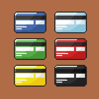 Credit card set in back view with pixel art style