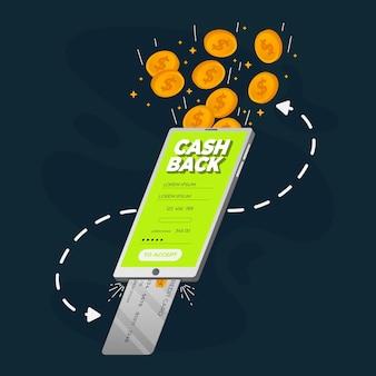 Credit card showing cashback process