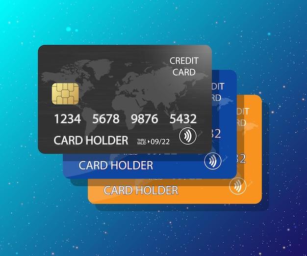 신용 카드 스택 모형 벡터