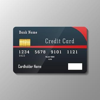 灰色で分離されたクレジットカードテンプレート
