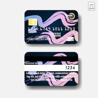 Credit card template with abstract design