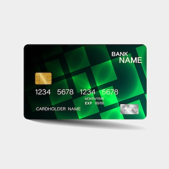 Credit card template with green elements