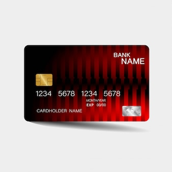 Credit card template with red elements