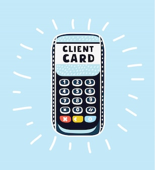 Credit card terminal  on white on right side of the picture Premium Vector