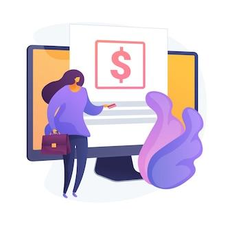 신용 카드 거래. 지불 조건, 구매 조건, 온라인 뱅킹. 전자 결제 기술을 사용하는 여성 구매자. 돈 대출을 반환하는 사업가. 벡터 격리 된 개념은 유 그림