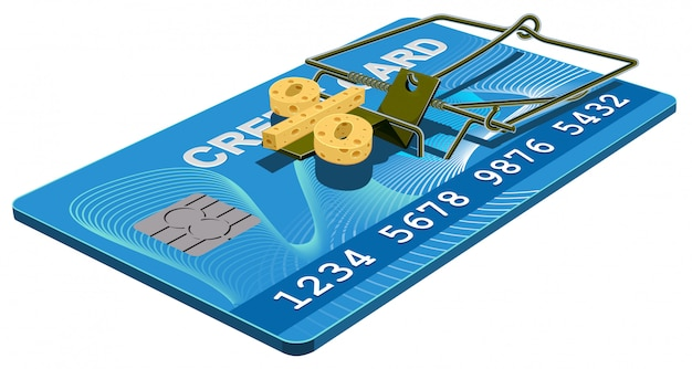 Credit card trap, bank interest free cheese in mousetrap