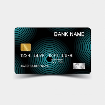 Credit card. with blue elements desing.  glossy plastic style.