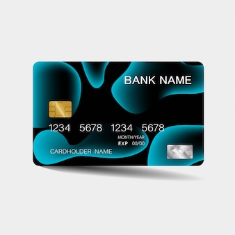 Credit card with blue elements