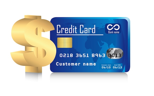 Credit card with gold dollar sign