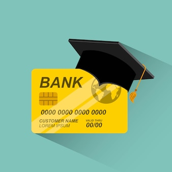 Credit card with graduation hat
