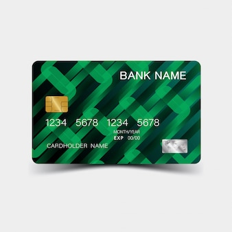 Credit card. with green elements design.