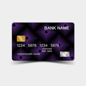 Credit card. with purple elements desing.