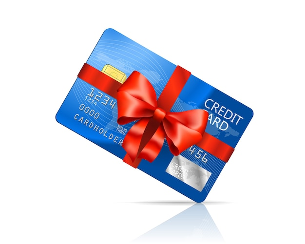 Carta di credito con fiocco rosso isolato