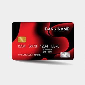 Credit card with red elements
