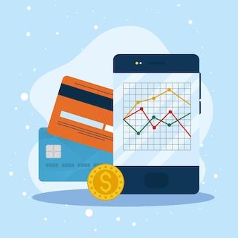 クレジットカードとスマートフォンの金融アイコン
