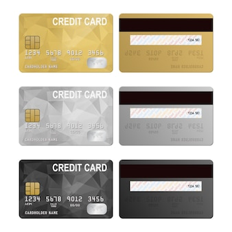 Credit cards, front and back view set