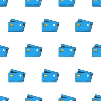 Кредитные карты бесшовные модели на белом фоне. бизнес-тема векторные иллюстрации