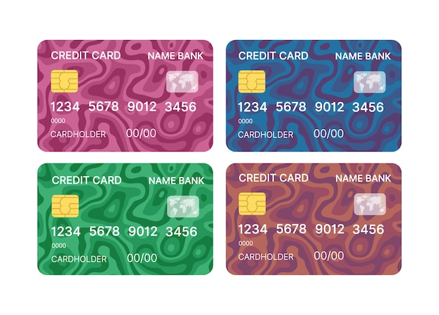 Credit cards set multicolor template vector with