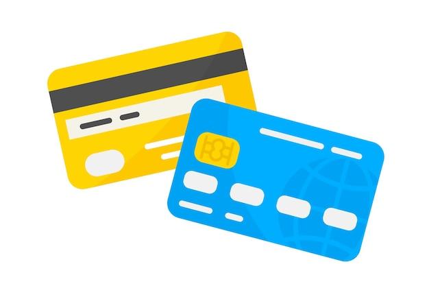 신용 카드. 벡터 직불 또는 신용 카드 아이콘입니다. 전면 및 후면 보기. 비접촉식 결제 시스템 또는 기술. 신용 카드 벡터 모형. 지불 또는 구매