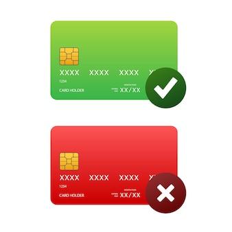 승인 및 거부된 신용 카드. 금융 보안 송금 확인. 거래 기호입니다. 벡터 재고 일러스트 레이 션