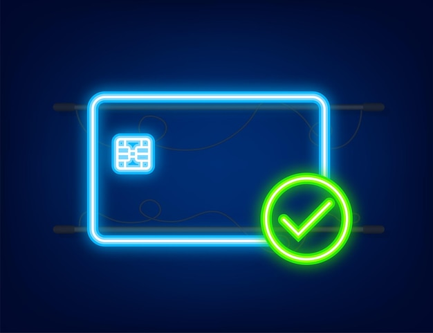 Credit cards with approved finance security transfer check transaction symbol neon icon
