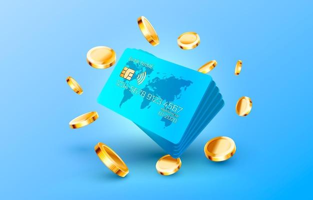 Credit cart and golden coin service dollar vector