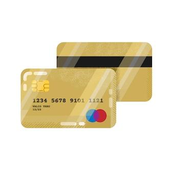 Credit or debit bank card in gold design