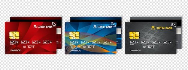 Кредитная / дебетовая карта. деловой или корпоративный дизайн. частные электронные деньги, безопасная платежная информация. реалистичный векторный макет платежных карт. иллюстрация дебетовой карты для оплаты и покупки, пластиковый кредит