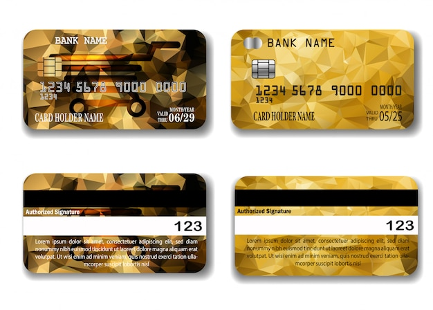 Credit gold card template with low poly texture