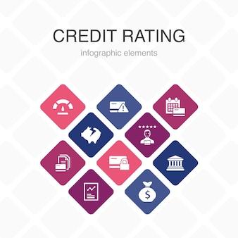 信用格付けインフォグラフィック10オプションカラーデザイン。信用リスク、クレジットスコア、破産、年会費のシンプルなアイコン