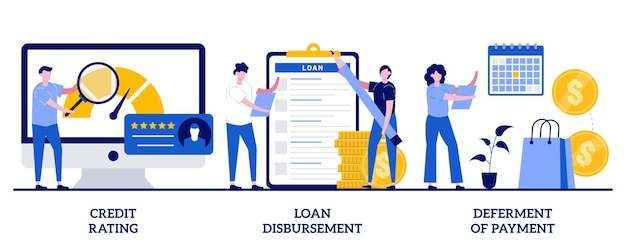 Credit rating, loan disbursement, deferment of payment concept with tiny people. bank service  illustration set. risk evaluation, student loan, payment terms, financial hardship metaphor.