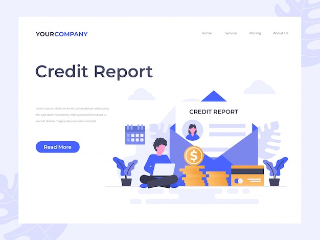 Credit report landing page