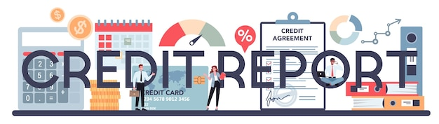 Credit report typographic text with illustration.