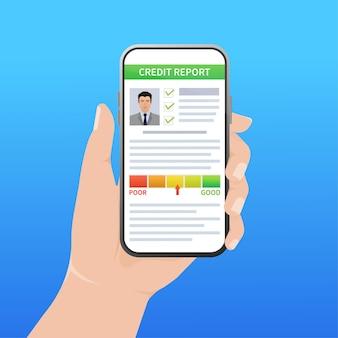 손으로 신용 보고서입니다. 명함. 온라인 개념입니다. 재무 차트입니다. 온라인 개념입니다.