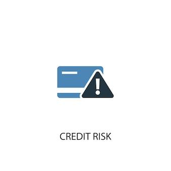 신용 위험 개념 2 컬러 아이콘입니다. 간단한 파란색 요소 그림입니다. 신용 위험 개념 기호 디자인입니다. 웹 및 모바일 ui/ux에 사용 가능