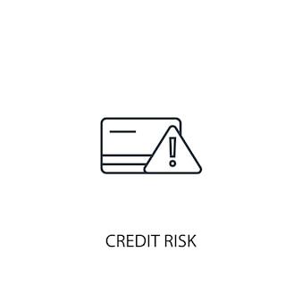 신용 위험 개념 라인 아이콘입니다. 간단한 요소 그림입니다. 신용 위험 개념 개요 기호 디자인입니다. 웹 및 모바일 ui/ux에 사용할 수 있습니다.